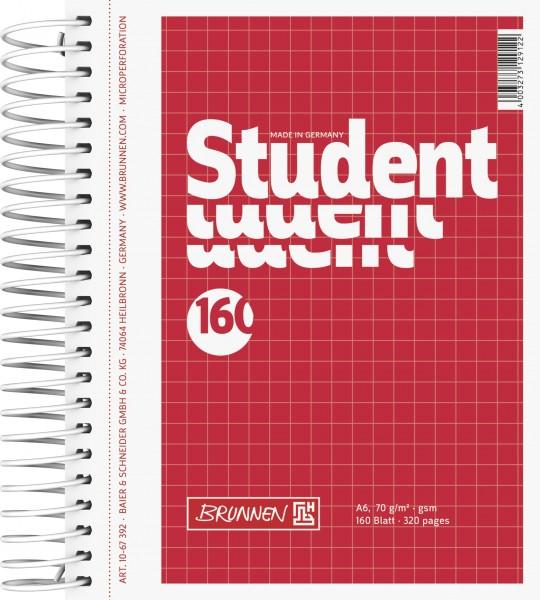 Notizblock Collegeblock, Spiralbindung, 4fach, 70 g/qm, A6, kariert, 160 Blatt