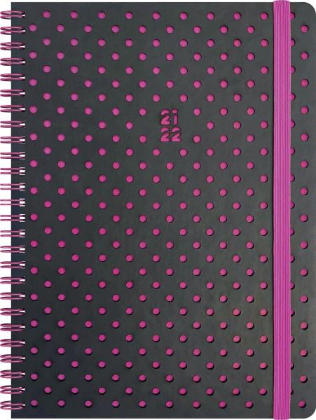 Wochenkalender, Schülerkalender, A5 PU 2S/1W Grey & Berry