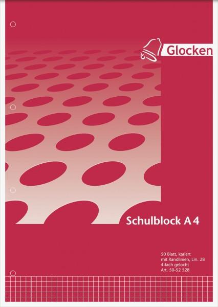 Schulblock A4, kariert, gelocht, 2xRand Liniatur 28