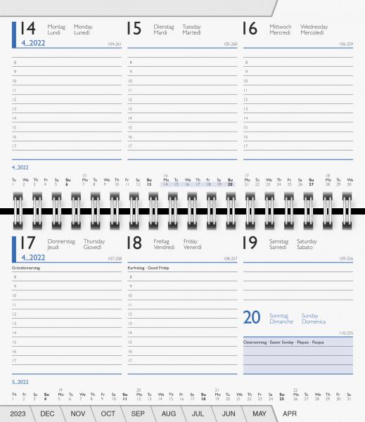 Taschenkalender 15x9cm 2S/1W Einlag