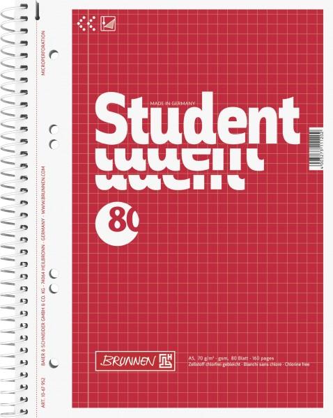 Notizblock Collegeblock, Spiralbindung, 4fach, 70 g/qm, A5, kariert, 80 Blatt