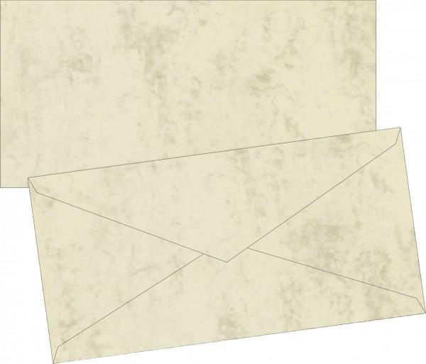 Briefumschlag Briefhülle, DIN-Lang, 222 x 113mm, chamois, gummiert