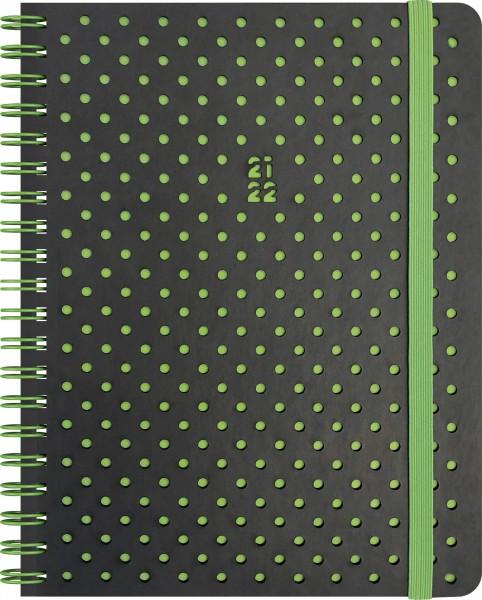 Wochenkalender, Schülerkalender, A6 PU 2S/1W Grey&Green