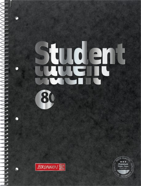 Collegeblock A4 Liniatur 27, liniert, schwarz 80 Blatt Premium