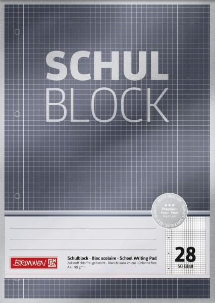 Schulblock A4 Liniatur 28, kariert, 50 Blatt, Premium