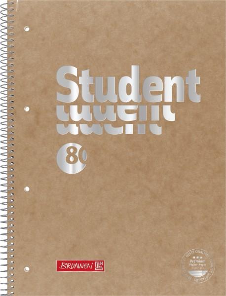 Collegeblock A4 Liniatur 27, liniert, braun, 80 Blatt Pressspan